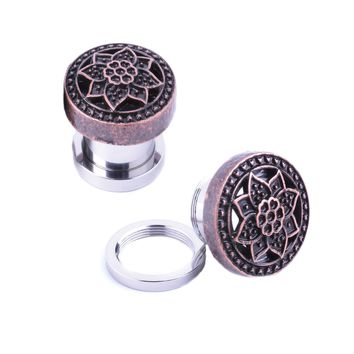 BodyJ4You Plugs Ear Gauges Rose Gold Tribal Flower Lotus Screw Fit 4G-16mm Piercing Jewelry
