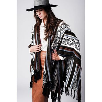 Geo-Tribal Pattern Fringed Poncho