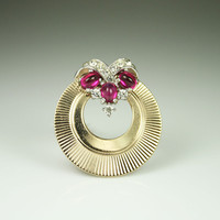 Vintage Boucher Brooch Gold Rhinestone Ruby Glass 1950s Jewelry