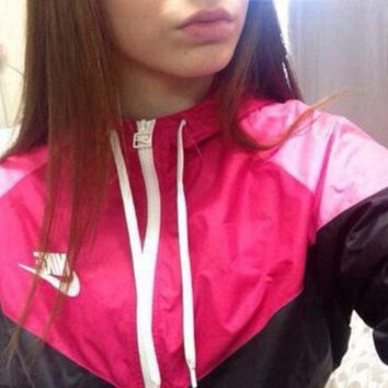 Fashion 'Nike' Hooded Zipper Cardigan Jacket Coat