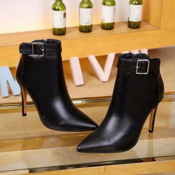 Alaxander Wang  Trending Men Women Black Leather Side Zip Lace-up Ankle Boots Shoes High Boots