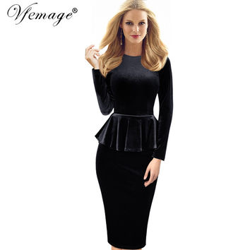 Vfemage Womens Autumn Winter Sexy Peplum Velvet Tunic Party Mother of Bride Special Occasion Evening Bodycon Dress 4082
