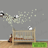 Panda Cherry Tree Wall Decals, White or Pink Cherry Blossoms, Branch, Sakura, Panda Bear Wall Decals, Pandas Stickers