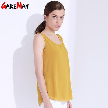 Women Top Tees Chiffon Blouses Solid Color Blouse Summer Tops Sleeveless Double Layer  Shirt Femme Camiseta Feminina GAREMAY