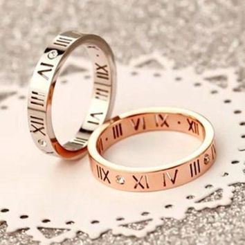 ESBIH3 Stylish Ladies Men Couple Ring Diamond Ring Lettering Roman Numerals Rings