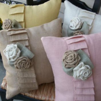 "Oyster Burlap Ruffled pillow with roses  17"" X 17"",  burlap wedding decor, burlap home decor. decorative pillow"