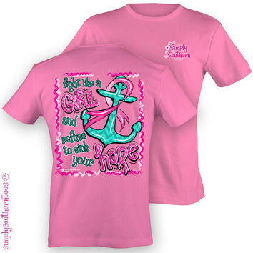 Simply Southern Funny Anchor Breast Cancer Chevron Girlie Bright T Shirt