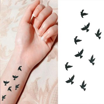 10cm Wrist Flash Tattoo Fake Tatto Birds Design Waterproof Temporary Tattoo Sticker For Body Art Women Flesh Temporary Tattoos