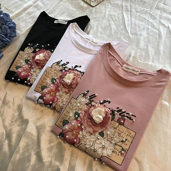 2019 Spring and Summer Pearl Sequin Flower Printed Short-sleeved T-shirt Women's Casual Cotton Tees Students Loose Tops