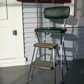 Cosco Kitchen Chair, Fold Out Step Stool Combo, Green Vinyl and Chrome