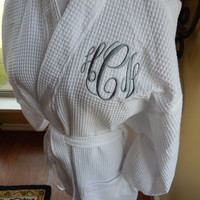 Monogrammed Robe - Waffle Weave - Spa - Bridesmaids