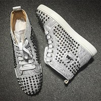 Cl Christian Louboutin Louis Spikes Style #1870 Sneakers Fashion Shoes