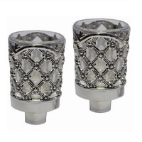 "Ultimate Judaica Neronim Set of 2 Candle Holders Silver Plated 3""H"