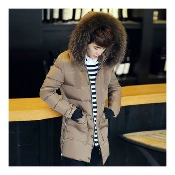 Man Cloth Down Coat Thick Long Fur Collar  khaki