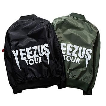 Kanye West Tour Bomber Men Jacket Windproof Air Force MA-1 Pilot Jacket Coat Thin Style Military Jacket size S-XXXL