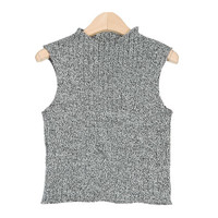Mock Neck Heathered Knit Vest
