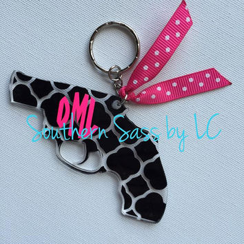 Monogrammed Personalized Pistol Gun Acrylic Keychains