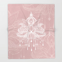 Blush mandala Throw Blanket by printapix