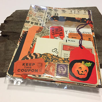 Paper Halloween Ephemera Set Vintage New Paper Vintage Junk Journal Supplies Mixed Media Art Planner Smash Book Pumpkin Skull Bird Game Card