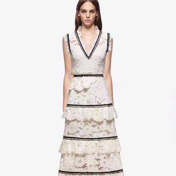 High Quality Runway Lace Dress Women Spring Summer Sexy Midi Dresses Boho People Vintage Party Dress Self Portrait