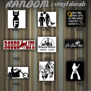 RANDOM vinyl decals - 118-126 - car decal - vinyl sticker - car window sticker - random designs - custom decals