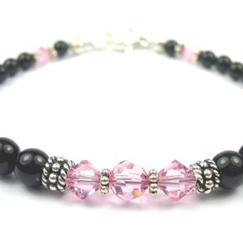Black Pearl Jewelry: Bracelets w/ Simulated  Pink Tourmaline Accents in Swarovski Crystal Birthstone Colors