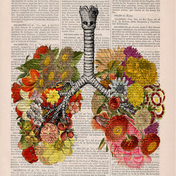 Flowery Lungs human Anatomy Print on dictionary. Anatomy art, love art, human anatomy, science & anatomy art, wall decor art print BPSK062