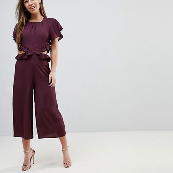 ASOS PETITE Jumpsuit with Ruffle and Cut Out at asos.com