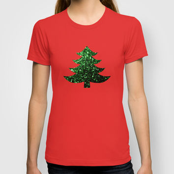 Christmas tree green sparkles T-shirt by PLdesign