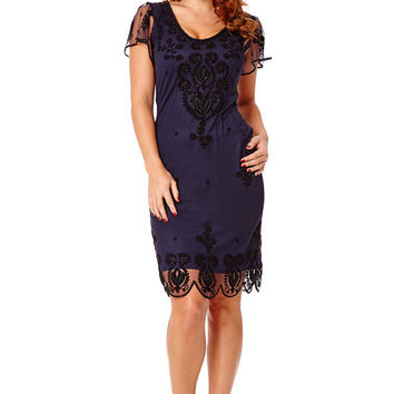Lillian Navy Blue Vintage 20s inspired Flapper Great Gatsby Beaded Speakeasy Charleston Downton Abbey Art Deco Bridesmaid Wedding Dress New