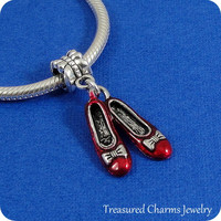 Ruby Red Slippers European Dangle Bead Charm - Silver Ruby Slippers Charm for European Bracelet