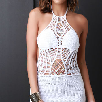 Crochet Halter Cover Up Mini Dress