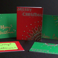 Christmas Note Cards Hand Drawn - Red and Green - Set of 5 - Envelopes included