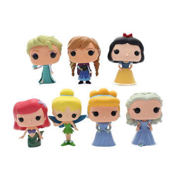 OPP 1pcs Funko Pop Princess Cinderella Tinker Bell Ariel Snow White Elsa Anna PVC Anime Movie Vinyl Cute Moedel Figure Toys