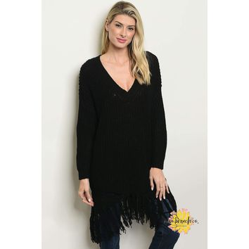 Madeline Distressed Black Pullover Knit Sweater
