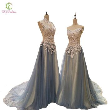 SSYFashion New  High-grade Long Evening Dress Bride Luxury Lace Embroidery Beading Gradient Blue Prom Dresses Party Formal Gown