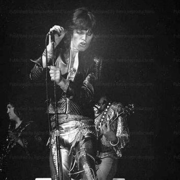 Rolling Stones, Mike Jagger in Concert, vintage art photo print rejproduction