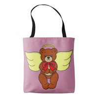 Teddy Bear Angel Front and Backside Art Graphic Tote Bag