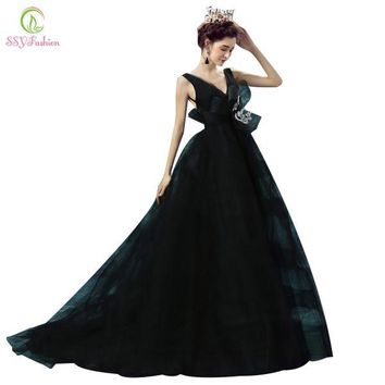 Robe De Soiree SSYFashion Sexy Black Deep V-neck Princess Bride Prom Dress Backless Long Evening Gown Luxury Catwalk Dresses
