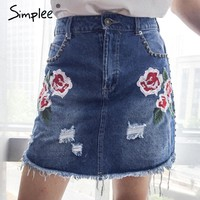 Fashion embroidery denim skirt women bottom Elegant high waist mini skirt Rivet ripped jeans skirt a line short skirt