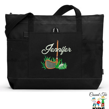 Golf in the Rough Personalized Zippered Tote Bag with Mesh Pockets, Beach Bag
