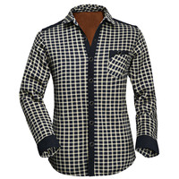 Grid Fleece Long Sleeve Button Down Shirt
