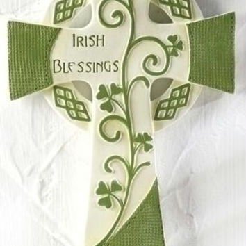 """ Irish Blessings ""  Religious Wall Cross - Shamrock Accented"