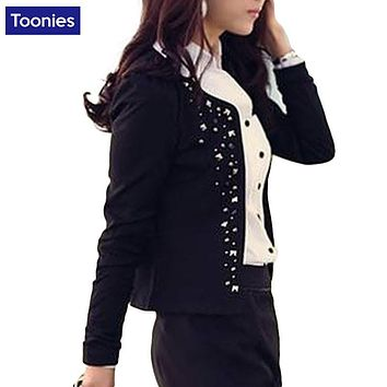 Women OL Work Jacket Commuter Rivet Coat Female Casual Cloth Thin Clothes Outwear Femme New Fashion Leisure Spring Autumn Coat