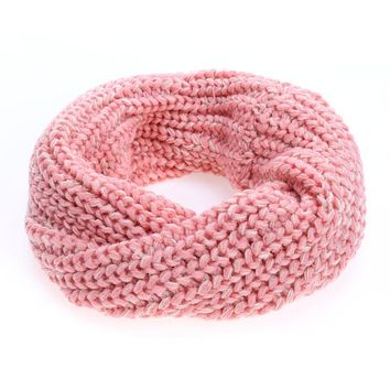 Winter Baby Kids Scarf Girls Boys Knitted Wool O Ring Collar Neck Warm Scarf Solid Color Children Neckerchief