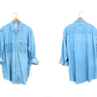 Vintage 90s Washed Out Faded Blue Chambray Denim Shirt Button Up Slouchy Boyfriend Jean Shirt Minimal Boho Womens Large Tall