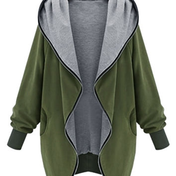 Plus Size Military Green Hooded Neck Long Sleeve Parka Coat