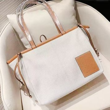 Loewe fashion hot selling women's casual canvas patchwork color shopping shoulder bag