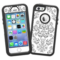 """Dainty Black and White Damask """"Protective Decal Skin"""" for OtterBox Defender iPhone 5s Case"""