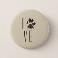 Love with Pet Paw Print Brown Grunge Typography Pinback Button